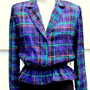 Vintage Silky Plaid Graphic Peplum Dress Top - S/M
